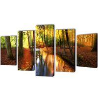 Set decorativo de lienzos para la pared modelo bosque, 100 x 50 cm