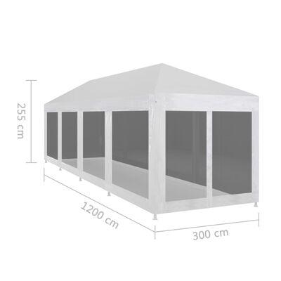 vidaXL Carpa de celebraciones con 10 paredes de malla 12x3 m