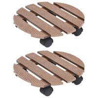 vidaXL Soporte con ruedas para plantas 2 unidades WPC marrón Ø30x7,5cm