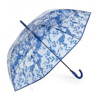 Paraguas Mujer Largo Estampado Transparente Antiviento Azul