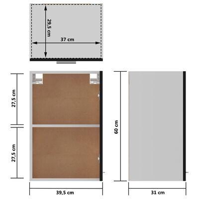 vidaXL Armario colgante de cocina aglomerado negro 39,5x31x60 cm
