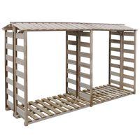 vidaXL Caseta para leña madera de pino impregnada 300x90x176 cm