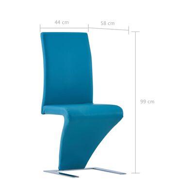 vidaXL Sillas de comedor forma de zigzag 4 uds cuero sintético azul