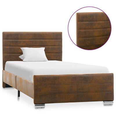 vidaXL Estructura de cama de piel de ante artificial marrón 100x200 cm