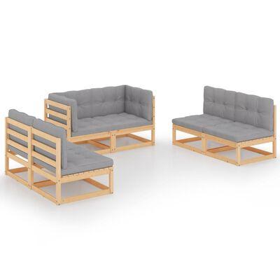 vidaXL Juego de muebles de jardín 6 pzas y cojines madera pino maciza