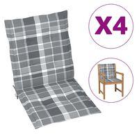vidaXL Cojines para silla de jardín 4 uds a cuadros gris 100x50x4 cm