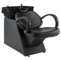 vidaXL Silla lavacabezas de peluquería de cuero sintético negro