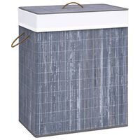 vidaXL Cesto de ropa sucia de bambú gris 83 L