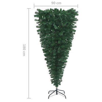vidaXL Árbol de Navidad artificial invertido con soporte verde 180 cm