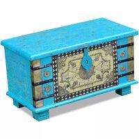 vidaXL Baúl de almacenamiento madera de mango azul 80x40x45 cm