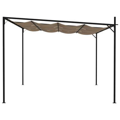 vidaXL Cenador con techo retráctil gris taupe 600x300x233 cm