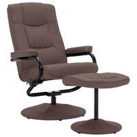 vidaXL Sillón reclinable con reposapiés de tela marrón