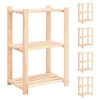 vidaXL Estantería 3 niveles 5 unidades madera pino maciza 150 kg