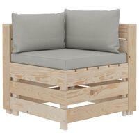 vidaXL Sofá de esquina de palés de jardín madera y cojines gris taupe