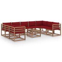 vidaXL Muebles de jardín 10 piezas con cojines color rojo tinto