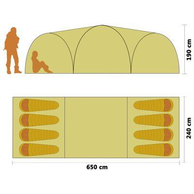 vidaXL Tienda de campaña tipo iglú 8 personas verde 650x240x190 cm