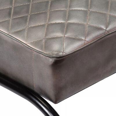 vidaXL Sillón de cuero auténtico gris