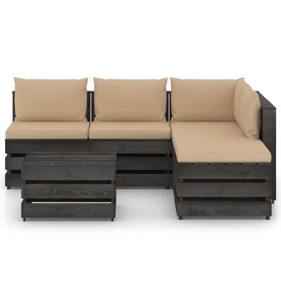 vidaXL Muebles de jardín 6 piezas con cojines madera impregnada gris