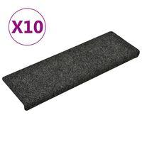vidaXL Alfombrillas de escalera 10 unidades gris 65x25 cm