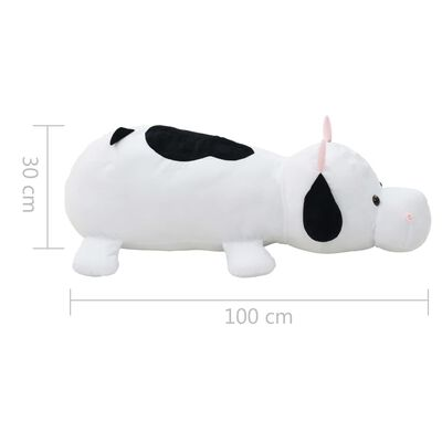 vidaXL Vaca de peluche blanca y negra