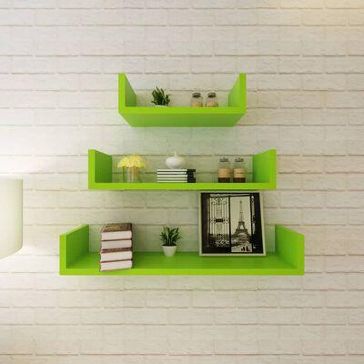 vidaXL Estantes de pared 6 unidades verde