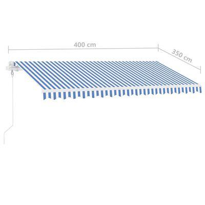 vidaXL Toldo de pie automático azul y blanco 400x350 cm