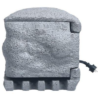 vidaXL Enchufes de jardín 4 tomas mando a distancia polirresina gris