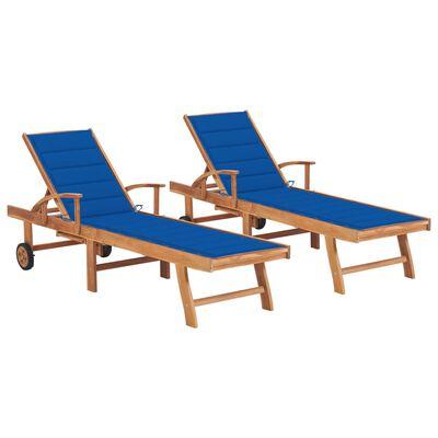 vidaXL Tumbonas 2 unidades madera maciza de teca con cojín azul royal