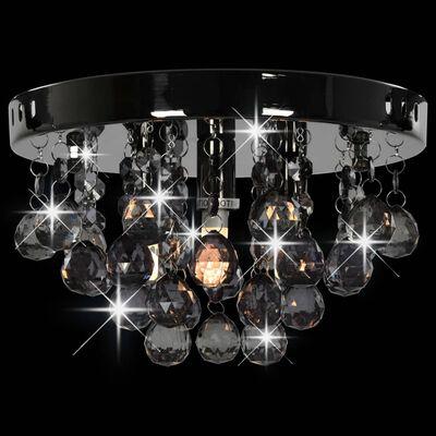 vidaXL Lámpara de techo con cuentas ahumadas negro redonda G9