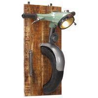 vidaXL Lámpara de pared diseño scooter madera maciza mango y hierro