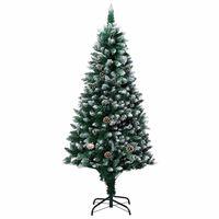 vidaXL Árbol de Navidad artificial con piñas y nieve blanca 180 cm