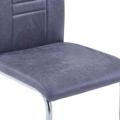 vidaXL Sillas de comedor voladizas 2 uds piel de ante artificial gris