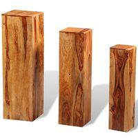 vidaXL Soportes para plantas 3 uds madera maciza de sheesham marrón