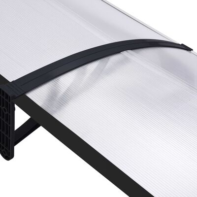 vidaXL Marquesina para puerta PC negro y transparente 300x80 cm