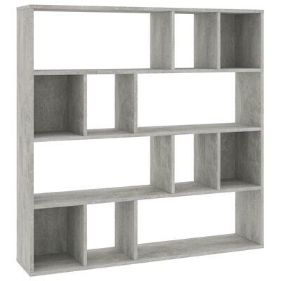 vidaXL Divisor espacio/estantería aglomerado gris cemento 110x24x110cm