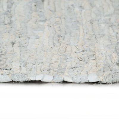vidaXL Alfombra chindi tejida a mano cuero 190x280 cm gris claro
