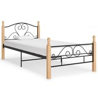 vidaXL Estructura de cama de metal negro 100x200 cm