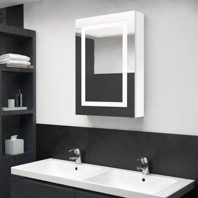 vidaXL Armario de baño con espejo LED blanco brillante 50x13x70 cm