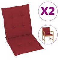 vidaXL Cojines para sillas de jardín 2 unidades rojo tinto 100x50x4 cm