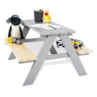 Pinolino Mesa de picnic con banco para niños Nicki für 4 madera gris