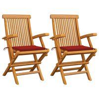 vidaXL Sillas de jardín 2 unidades con cojines rojos madera de teca