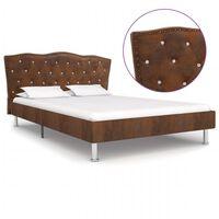 vidaXL Estructura de cama de piel de ante artificial marrón 120x200 cm