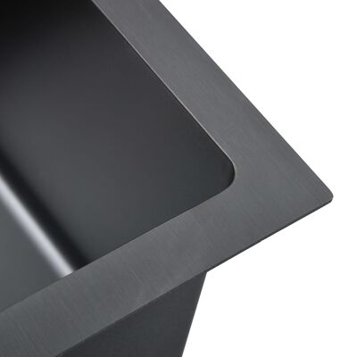 vidaXL Fregadero hecho a mano con colador acero inoxidable negro