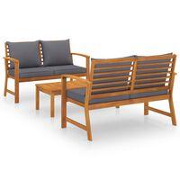 vidaXL Muebles de jardín 3 pzas cojines madera maciza de acacia