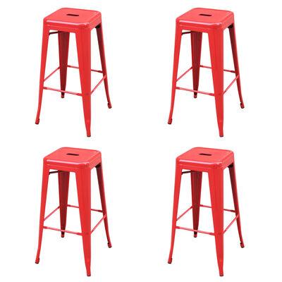 vidaXL Taburetes de cocina 4 unidades acero rojo