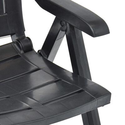 vidaXL Sillas de jardín reclinables 2 unidades plástico gris antracita
