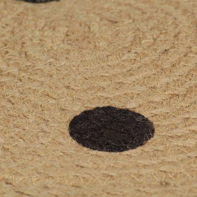 vidaXL Alfombra de yute tejida a mano con estampado de lunares 150 cm
