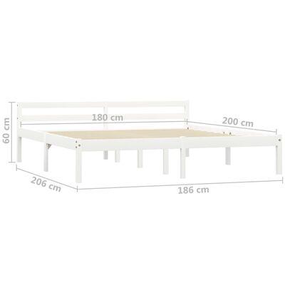 vidaXL Estructura de cama de madera maciza de pino blanco 180x200 cm