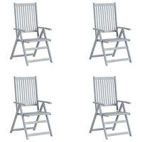 vidaXL Sillas de jardín reclinables 4 uds madera maciza de acacia gris