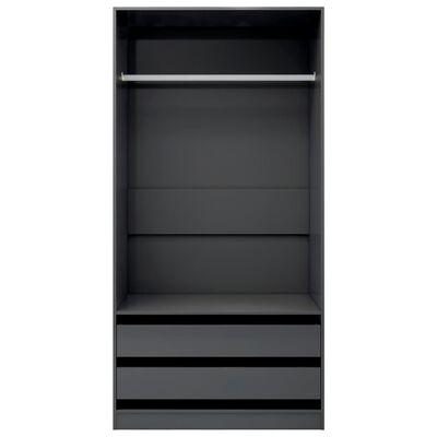 vidaXL Armario de aglomerado gris brillante 100x50x200 cm